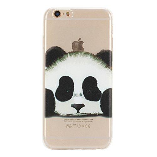 iPhone 6S Plus Hülle, iPhone 6 Plus Hülle, Gift_Source [ Blumen & Flamingo ] Hülle Case Transparent Weiche Silikon Schutzhülle Handyhülle Schutzhülle Durchsichtig TPU Crystal Clear Case Backcover Bump E1-Panda