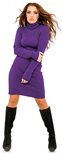 Glamour Empire. Damen Geripptes Strickkleid Minikleid Stehkragen Rollkragen 417 Lila