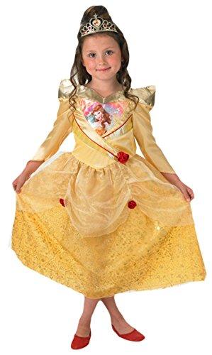 Fancy Ole - Mädchen Girl Karneval Komplett Kostüm Prinzessin Schimmerglanz Belle , Gelb, Größe 110-116, 5-6 Jahre