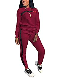 de10d449b51 Women s 2 PCS Tracksuit Round Neck Long Sleeve Top Stripe Long Pants  Jumpsuit Outfits Set for