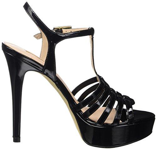 Guess Kamali Patent Pu, Sandales avec bride femme Noir - noir
