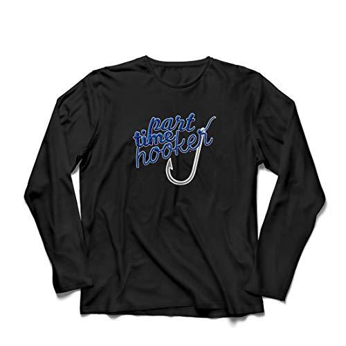 lepni.me Herren T Shirts Part Time Hooker, Zitate für Angler, Fischergeschenk (Small Schwarz - Von Zitate Halloween Bedeutung