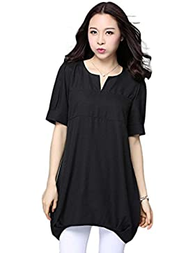 ZXCB Camiseta Cómoda Suelta De Verano Para Mujer Camiseta Manga Corta Informal De Cuello Redondo Con Cuello En V