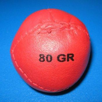 Wurf-und Schlagball aus Leder (rot, 80 g)