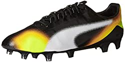 PUMA Mens Evospeed SL II Graphic FG Soccer Shoe, Black/White/Safety Grey, 9.5 M US