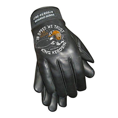 King Kerosin In Speed we Trust Handschuhe Lederhandschuhe (XL, Schwarz)