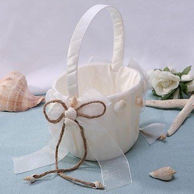 Satin-streifen-shell (Heart&M chic Blumenkorb in Elfenbein Satin mit Shell Blumenmädchen Korb)