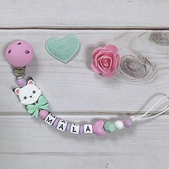 Schnullerkette mit Namen mint lila rosa aus Silikon Baby