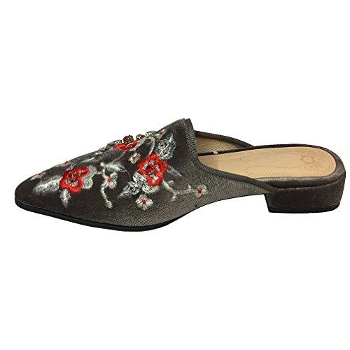 ENMAYER Frauen Slip-on Med Fersen Schuhe für Frauen Spitz Zehen-Quadrat Fersen Outdoor Casual Mule Schuhe Schwarz#32