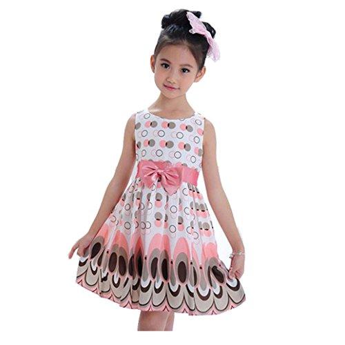 irina Robe manches courtes Mousseline Jupe de paon belle Vêtements pour fêtes (S, Rose)