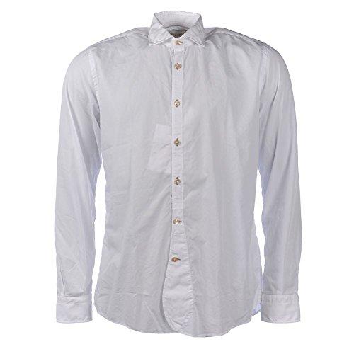 Delsiena cotone bianco bordo rotondo slim fit camicia a maniche lunghe