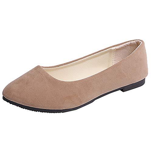 Damen Flache Schuhe Arbeitsschuhe Mädchen Freizeitschuhe Bootschuhe Slip On Halbschuhe Bequeme Walkingschuhe Single Schuhe Pumps Arbeit Sandalen, Khaki