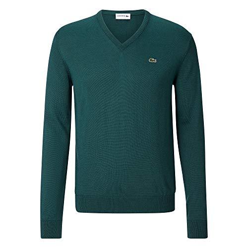 Lacoste AH3015 Herren Pullover V-Ausschnitt,Männer Basic Strickpullover,Freizeit und Business Pulli,grünes Krokodil,Regular Fit,ACONIT(E76), Medium (4)