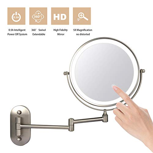 ZEPHBRA Espejo de Maquillaje con Luz LED 1X/5X Aumento Espejos de Aumento de Pared de Doble Cara Giratorio...