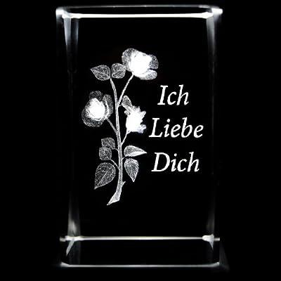 Kaltner Präsente Stimmungslicht 3D Laser Kristall Glasblock - LED Kerze Rose ICH LIEBE DICH von Kaltner Präsente - Lampenhans.de