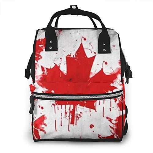 Wickeltasche Rucksack Reisetasche Große Multifunktions Wasserdichte Kanada Kanadische Flagge Stilvolle und langlebige Wickeltasche Für Babypflege Schulrucksack -