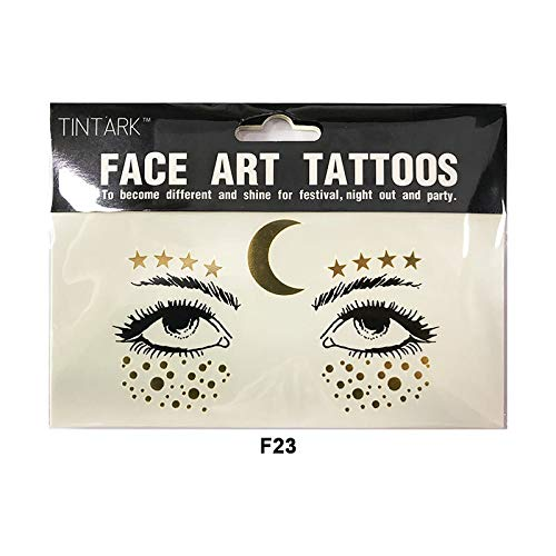 YWJ Gesicht Tattoo Aufkleber, temporäre Metallic Tattoos Sommersprossen Glitter Tattoos Edelsteine Halloween Festival Party Make Up Zubehör, Gesicht Kunst Aufkleber Tattoo,2