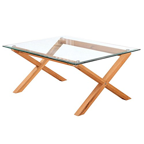 LPD Furniture Cadiz Coffee Table, In Oak & Clear Glass