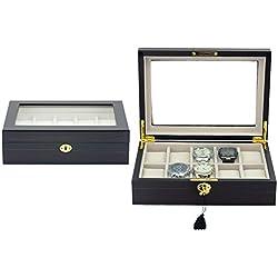 Luxuriöse Uhrenbox von Woolux für 10 Uhren mahagoni Uhrenvitrine Sichtfenster aus Echtglas