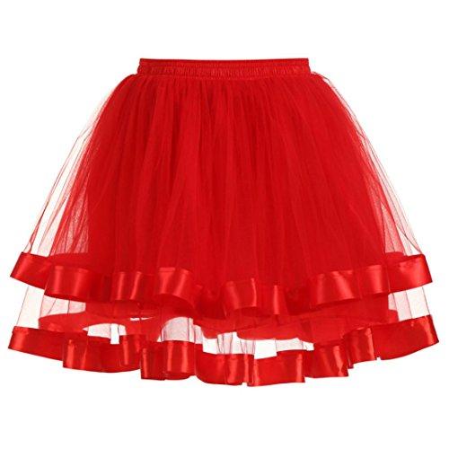 (Damen Kleider,Frauen {Qualität} plissiert Gaze kurzen Rock Erwachsenen Tutu Tanzen Rock (Red))