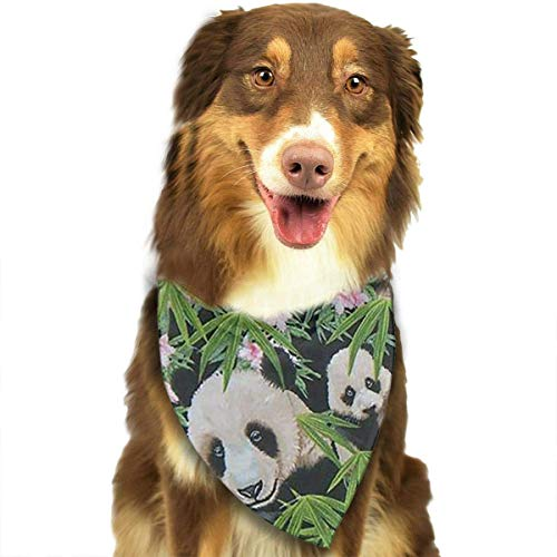 Sdltkhy Pandas in Flowers Pet Bandana Washable Reversible Triangle Bibs Scarf - Kerchief for Small/Medium/Large Dogs & Cats