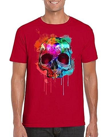 Graffiti Technicolour Paint Splat Skull T-Shirt / TeesUK / Cool