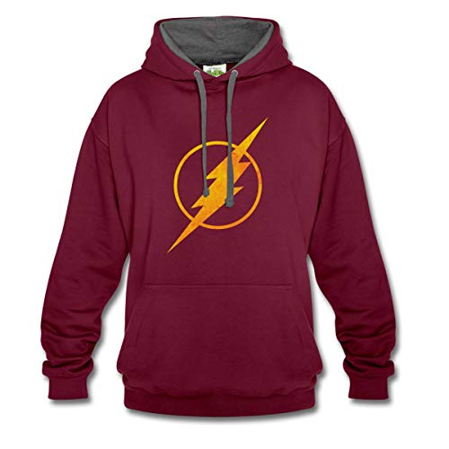 Spreadshirt DC Comics Justice League Flash Logo Kontrast-Hoodie, S, Weinrot/anthrazit