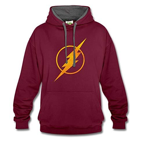 Kostüm Comics Dc Blitz Der - Spreadshirt DC Comics Justice League Flash Logo Kontrast-Hoodie, L, Weinrot/anthrazit