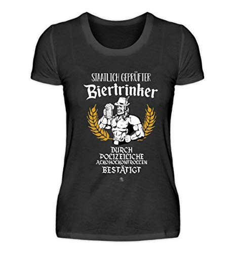 Lustig von Polizei staatlich geprüfter Biertrinker Bier Bierkrug T-Shirt Alkohol Geschenk - Damenshirt -L-Schwarz