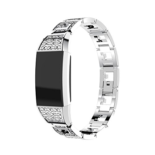 Fitbit Charge 2 Armband, iHee 2017 Neue Mode Vertraglicher Design Stil Edelstahl Uhren Armband Armband für Fitbit charge 2 (Silber)