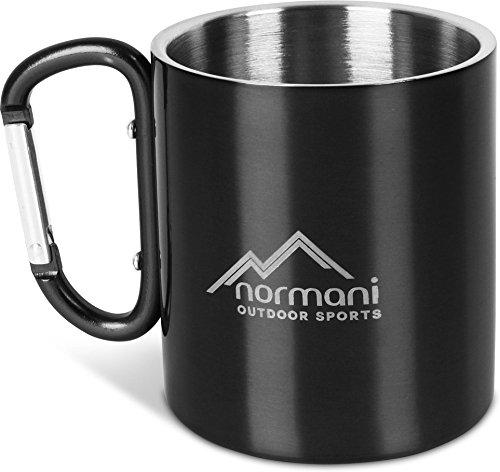 normani Outdoor Karabinertasse doppelwandiger Thermobecher in verschiedenen Farben - 330 ml Farbe Schwarz