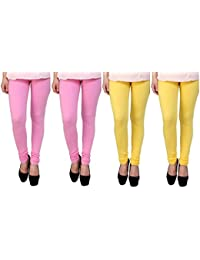 Anekaant Cotton Lycra Women's Legging Pack of 4 (2, Pink & 2, Yellow)