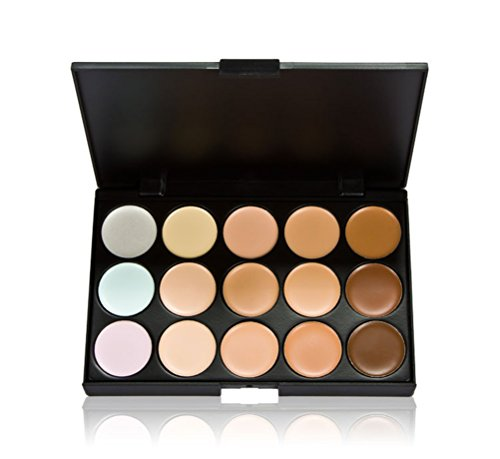 SONGQEE 15 Colors Contour Face Cream Makeup Concealer Palette + Foundation Brush with DIY Girls Wooden Buttons