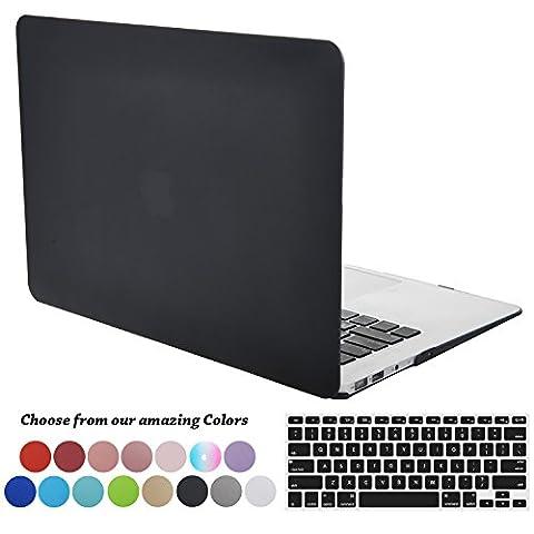 Coque MacBook Air 13 pouces,TECOOL [Ultra Mince Série] Plastique Mat givré Rigide Étui +Film de protection d'écran avec Housse de Clavier en Silicone pour MacBook Air 13.3 Modèle: A1466 and A1369 - Noir