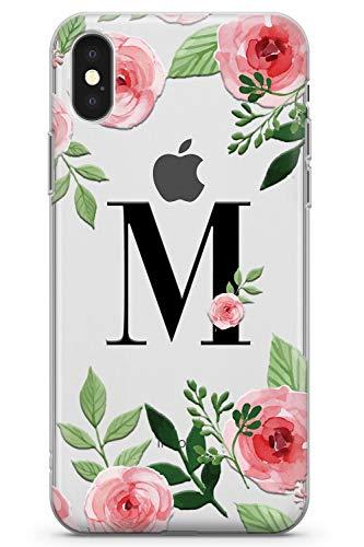 iPhone XS Max Personalizzato Rosa Floreale Personalizzata Caso Iniziale Monogramma Custodia in Gomma TPU Case Carina Fiori Moda Testo Chiaro