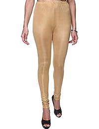 Poly Cotton Shimmer Golden Leggings For Women's And Girl's