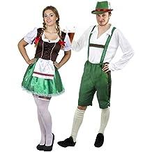 fb13d27cff9 Déguisement accessoires pour couple adulte de Bavarois avec pour l Homme  une salopette verte courte