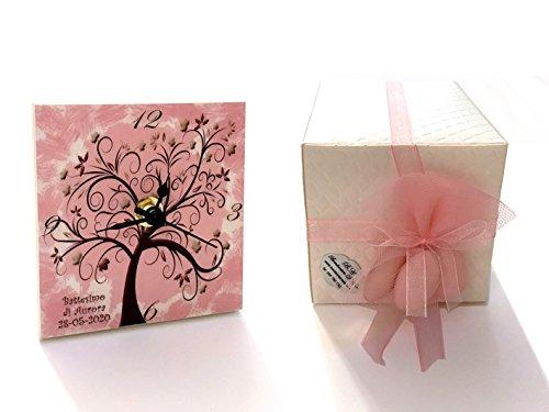 Bomboniere d'arte™ bomboniera battesimo cresima bimba orologio albero della vita rosa