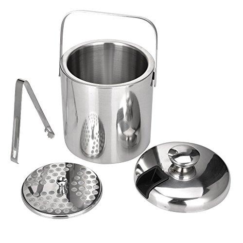 Lolypot Doppelstöckiger Edelstahl 1,3L Eiseimer, Eiseimer Eisbehälter mit Zange und Deckel Weinkühle Sektkühler Eiswürfelbehälter
