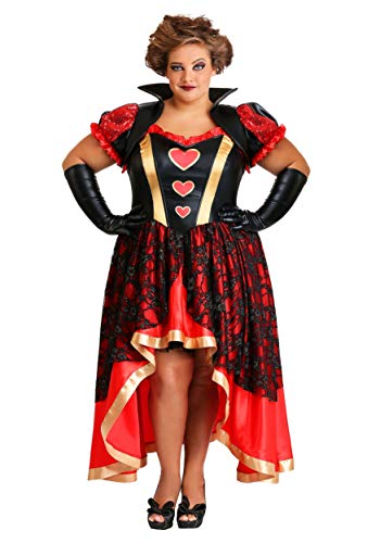 Wonderland Kostüm On Alice - Women's Plus Size Dark Queen of Hearts Fancy Dress Costume 4X