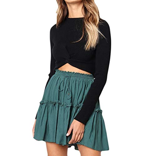 SuperSU Herbst Frauen Elastische Hoch taillierte Lose Rock Bandage Stretch Bodycon Rock Elastizität Taille Lose Mini Röcke Drucken Blumen Boho A Linien Kurze Rock Retro Literatur Knee Skirt