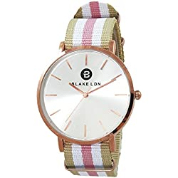 Blake LDN Ladies Rose Gold Plated Nato Nylon Fabric Strap Quartz Women's Wrist Watch with Silver Sunray Shiny Analogue Dial and Pink and Mink Fashion Zulu Maratac Band