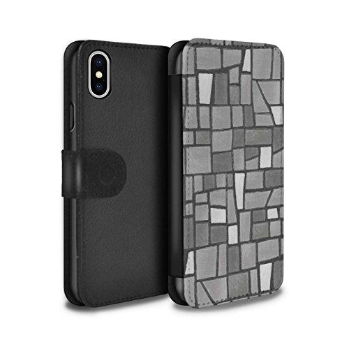 Stuff4 Coque/Etui/Housse Cuir PU Case/Cover pour Apple iPhone X/10 / Multipack (9 Pcs) Design / Carrelage Mosaïque Collection Gris/Blanc