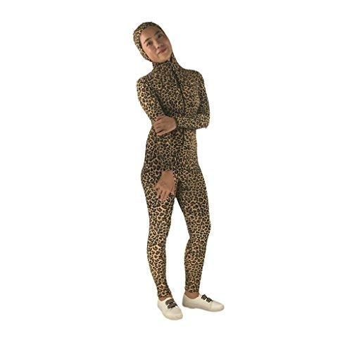 chiwanji Gesicht Offener Leopard Print Bodysuit Catsuit Spandex Unitard Zentai Kostüm - - Leopard Kostüm Bodysuit