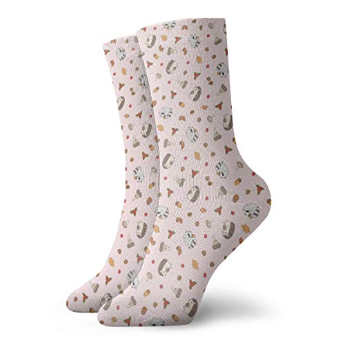 Igel und Waschbär Muster in Baby Pink Hintergrund_2747 Malerei Kunst gedruckt lustige Neuheit Tier lässig Baumwolle Crew Socken 11,8 Zoll - Farbton Damen Socken Jeans