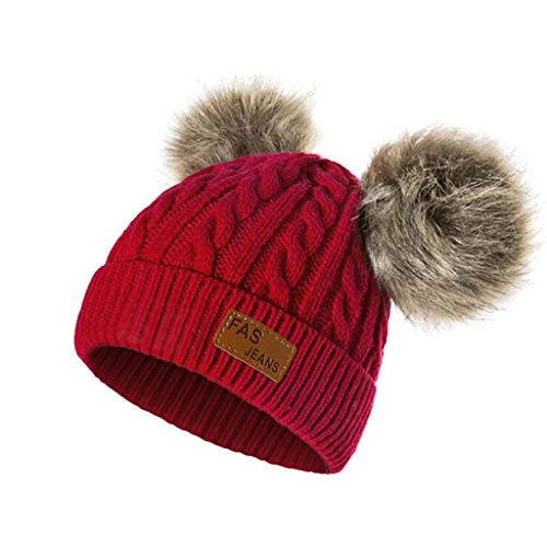 QUICKLYLY Gorro Bebé de Lana Tejido Invierno Grueso Sombrero para Niños Y  Niñas Bufanda Conjunto Slouchy 3b61e2e6436e