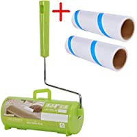 Da Jia Inc Refillable Sticky Lint Roller Pet Hair Removers with Cover Cage and 2 Replacement Roll For Clothes Furniture Car and Pets Green