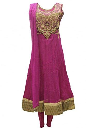 CS2008 Pink und Gold Churidar Anzug Indian Bollywood Churidar Suit Medium (Full Bust Size 40 Inches) (Sleeve Verziert Medium)