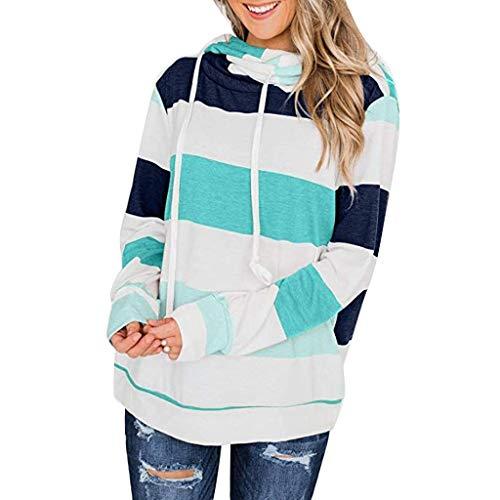 90er Zum Jahre Verkauf Kostüm - Iwähle ♥ Womens Color Block gestreiften Sweatshirt Rundhals Langarm lose Pullover Tops (Grün, S)