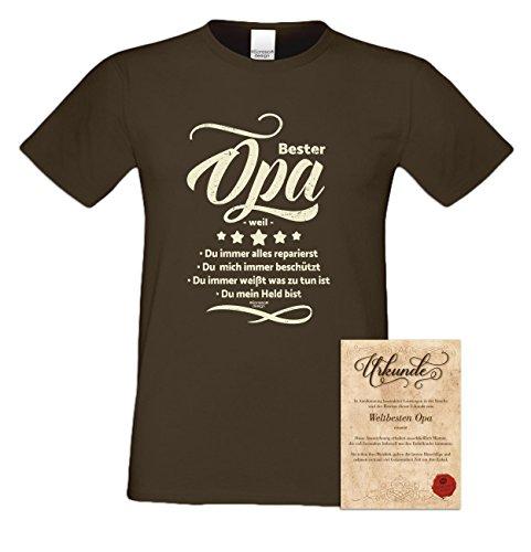 Super Opa Geschenk-Set: Herren T-Shirt plus Urkunde Geschenkidee als Weihnachtsgeschenk Geburtstagsgeschenk auch in Übergrößen Farbe: schwarz braun-28